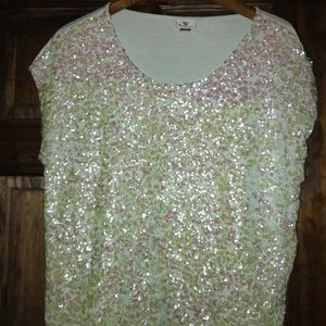 WORTHINGTON tunic sequins blouse lite aqua color